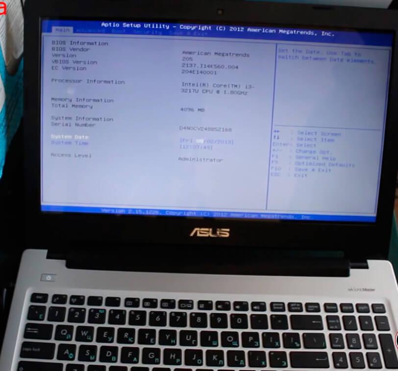 Установить Windows на ноутбук Asus в СПб